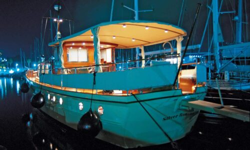 Silver-58-Motor-Yacht-Aft-View-Night